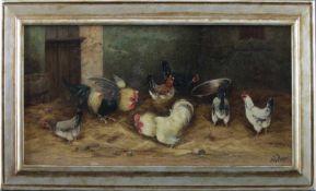 """Tiermaler, Alfred Prehn (19./20. Jhd.) - Öl auf Leinwand, """"Hühnerschaar im Stall"""", unten rechts"""