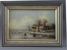 """Maler (19. Jhd.) - Öl auf Leinwand, """"Winterliche Landschaft mit Personen auf dem Eis"""", guter"""