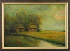 """Feodor Szerbakow (1911 - 2009) - Öl auf Hartfaserplatte, """"Abendstimmung im Worpswerder Moor"""","""