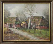 """Erich Zimmermann (1908 - 2007) - Öl auf Leinwand, """"Ländliches Gehöft"""", unten rechts signiert,"""