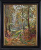 """Johannes C.F. Norretranders (1871 - 1957) - Öl auf Leinwand, """"Herbstliche Landschaft"""", 1918, unten"""