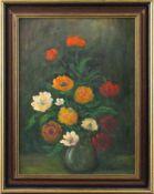 "Feodor Szerbakow (1911 - 2009) - Öl auf Hartfaserplatte, ""Blumenbukett"", unten rechts signiert,"