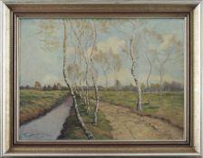 """Feodor Szerbakow (1911 - 2009) - Öl auf Hartfaserplatte, """"Frühling im Worpsweder Moor"""", unten"""