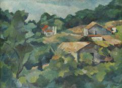 """Irene Fischer-Nagel (1938 - ?) - Öl/Tempera auf Papier, """"Südliche Landschaft"""", unten links signiert,"""