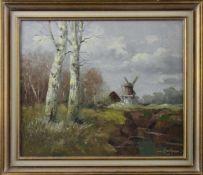 """Erich Zimmermann (1908 - 2007) - Öl auf Leinwand, """"Vorfrühlingslandschaft mit Windmühle bei"""