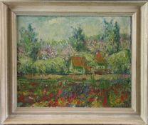 """Impressionist (Mitte 20. Jhd.) - Öl auf Leinwand, """"Französische Landschaftsimpression mit Maison"""