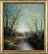 """Karl Schmidbauer (1921 - 1998) - Öl auf Leinwand, """"Romantische Landschaft mit mächtigen, in den"""