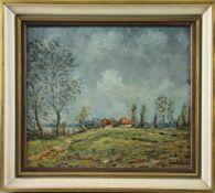 """Georg Friedrich Maria Anschütz (1920 - 1991) - Öl auf Leinwand, """"Landschaft am Niederrhein mit"""