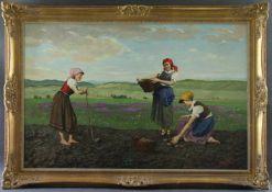 """Lajos Rezes Molnar (1896 – 1989) - Öl auf Leinwand, """"Junge Landarbeiterinnen bei der"""
