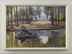 "Auguste Dubois (1892 - 1973) - Öl auf Leinwand ""Blick auf den Schlosspark hinter dem Petit"