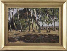 """Willy Tiedjen (1881 - 1950) - Öl auf Leinwand, """"Schafkoven in Bispingen"""", (19)04, unten rechts in"""