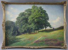 """Friedrich Wilhelm Schwinge (1852 - 1913) - Öl auf Malkarton, """"Heidehügel mit Person im Schatten"""
