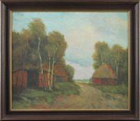 """Feodor Szerbakow (1911 - 2009) - Öl auf Hartfaserplatte, """"Bauernkaten mit Gehölze - Birken im"""