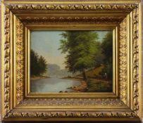 """Landschaftsmaler (20. Jhd.) - Öl auf Leinwand, """"Seenlandschaft mit einer Hütemagd am Ufer, ihr"""