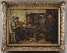"""Hermann Prediger (1886 - 1970) - Öl auf Hartfaserplatte, """"Das Sorgenkind"""", 1928, unten links"""