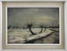 """Heinrich Brandenburg (1913 - 1991) - Öl auf Hartfaserplatte, """"Winter am Niederrhein"""", unten links"""