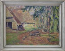 """Rudolf Fredderich (1886 - 1976) - Öl auf Leinwand, """"Altes Gehöft mit Schafkoven / II Fassung"""", 1975,"""