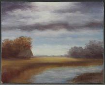 """Heinz Dodenhoff (1889 - 1981) - Öl auf Hartfaserplatte, """"Im Worpsweder Moor"""", unten rechts signiert,"""