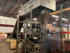 2008 Vegatronic 1000 VFFS machine with product counter and incline feed conveyor