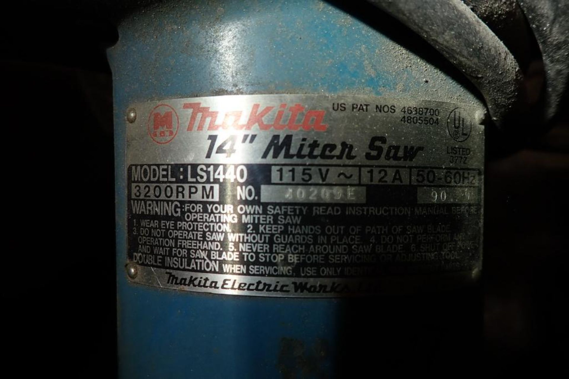 Lot 4105 - Makita 14 in. miter saw, Model LS1440, 3200 rpm, on stand