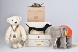 """STEIFF '3 Tiere + Bär'KF, """"Frosch als Nadelkissen"""", Nr. 420368, """"Classic 1952 Elefant"""", Nr."""