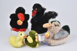 STEIFF 5 Vögel1980-90, 3x KFS, Hucky, Nr. 2580/ 14, Piccy, Nr. 3242/ 08, Tulla, Nr. 3205/ 15, 1x KF,