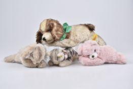 STEIFF 4 Schlaftiere1960-80er Jahre, 1x KFS, Floppy Kitty, KFS, Nr. 5600,17, 2x KF, Baby Floppy Bär,