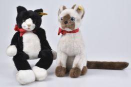 STEIFF Cattie Siamkatze + Burri Schlenkerkatze80er Jahre, Cattie KF, Nr.2740/25 und Burri, KF,
