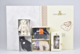 STEIFF 6 Club GeschenkeKF, 3x Teddys, 2005, 2008, 2009, 1x Polarbär, 2006, Elefant, 2007, Z 1+,