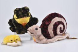 STEIFF 3 Tiere1992-96, 3x KFS, Cosy Snicki Schnecke, Nr. 094910, Cosi Clippy Krabbe, Nr. 095863,
