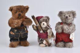 "HERMANN '3 Teddybären'""Maximilian"", ""Ignaz"", ""Skibär"", limitierte Auflagen mit Zertifikat, Mohair,"