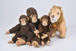 STEIFF 4 Wildtiere1960-80er, 1x KFS, Leo, Nr. 0805/ 26, 2x KF, Jocko, Nr. 0020/ 25, Jocko mit