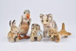 STEIFF 5 Tiere1950-60er Jahre, 1x KFS, Hexie, Nr. 1309,00, 2x mit Knopf, Sonny Hase und Ente, 2x