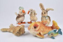 STEIFF 6 Tiere1960-80, Flossy mit Knopf und Schild, Flossy, Ente, Floppy Hansi, Sonny Hase, Gans