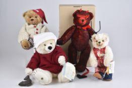 """SIGIKID '4 Teddybären'""""Clownbär"""", Nr. 33347, """"Camenbär Hierold"""", Nr. 34790, """"Teufel"""", Nr. 33488, """""""