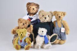 HERMANN '6 Teddybären'Mohair, teils 5-fach gegliedert, teils mit Kippstimme, 20 - 37 cm, Z 1