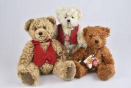 """HERMANN 3 Teddybären,""""Anton"""", """"Luitpold"""", """"Bär"""", limitierte Auflagen mit Zertifikat, Mohair, Füße"""
