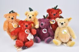 STEIFF 6 Fruities TeddysErdbeere, Birne, Orange, Tomate, Pflaume, Zitrone, KFS, Mohair, 5-fach