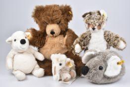 STEIFF 5 PlüschtiereClippy Baby Mammut, KFS, Nr. 072314, Bär-Handpuppe, 'Jolly', KFS, Nr. 254024,