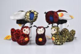 STEIFF 5 Tiere3x Cosy Fluppy Raupe, KFS, Nr. 091445, 091407, 091414, 2x Cosy Fluppy Fliege, KFS, Nr.