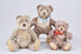 STEIFF 3 Teddybären3x ohne KF, Original Teddy mit Schild, Zotty, Farbe Zimt, sehr selten, Teddybär
