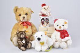 Konv. STEIFF1 Brummbär, 1 Teddy 1926, 1 kl. Nikolaus, 1 Weihnachtsmann mit Mütze, 1 Knut, 1 Steiff-