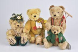 "HERMANN '4 Teddybären'""Honigbär"", ""Charles"", ""Miniatur-Editionsteddy', ""Landarbeiter"", 3x limitierte"