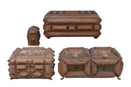 3 Prunkschatullen, deutsch um 1900