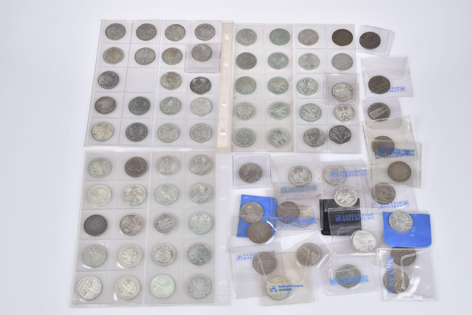 Konv. 84 Silbermünzen, Kursmünzen, 5-DM-Münzen