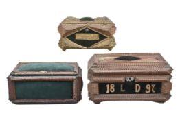 Drei Prunkschatullen, deutsch um 1900