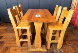 """PUB TABLE WITH FOUR CHAIRS - TABLE L 48"""" W 29 1/2"""" H 41"""""""