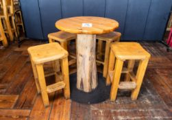 """ROUND PUB TABLE WITH FOUR STOOLS DIAMETER 34"""" H 42 1/2"""""""