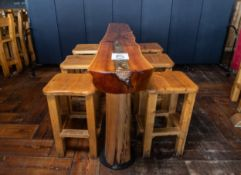 """STANDING BAR WITH SIX STOOLS - BAR L 96"""" WAVE W 20"""" H 42"""""""