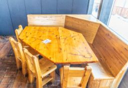 """CORNER BOOTH (LARGE ITEM) W 4 CHAIRS - BOOTH L 85"""" W 84"""" DIAGONAL 93"""" H 41"""""""